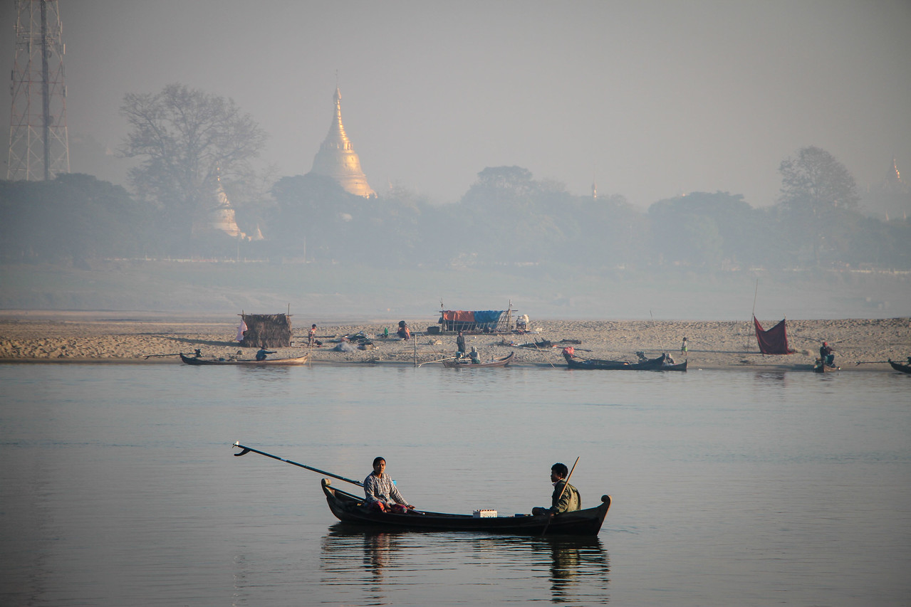 Pagodas on the Irrawaddy river