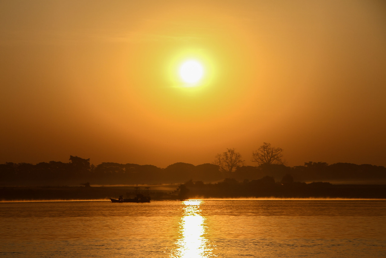 sunrise over the irrawaddy river